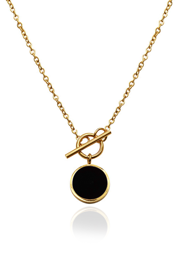 Lucie Round Pendant Toggle Clasp Necklace