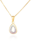 Iona Teardrop from Heaven with White Mother Pearl and hand embedded Cubic Zirconia Lining Necklace