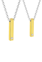 Sylver Vertical ID Bar Necklace in Gold (For Her)