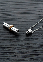 "Soulmate ""Together Forever"" Keepsake Ash Memento with Two Tone Binding Ring Cylinder Bar Necklace in Silver"