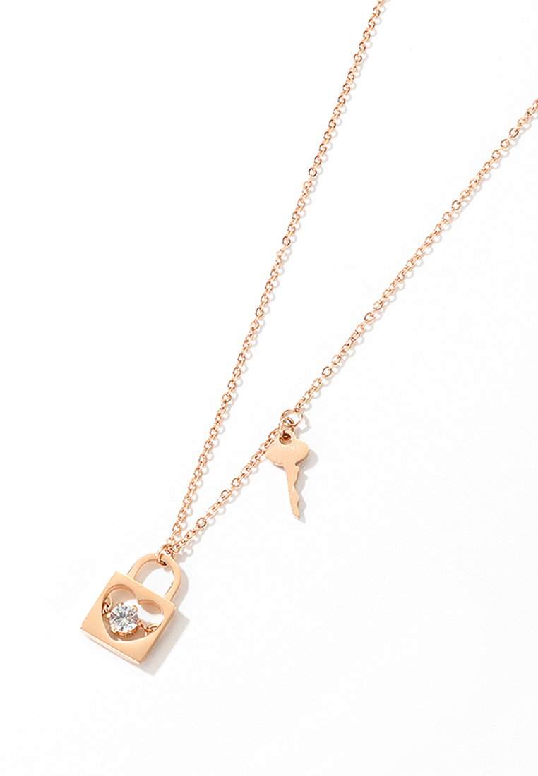 Honor Dainty Heart Lock with Six Prong Cubic Zirconia Solitaire and attached Key Chain Necklace