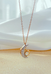 Luyana Crescent Moon and Sun Halo with hand embedded Cubic Zirconia Cluster Necklace in Rose Gold