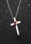 Divine Radiant Cross Pendant Interlocking Ring Necklace