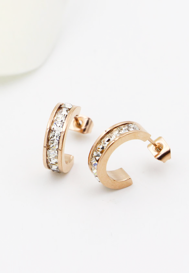 Baily White Zirconia C Hoop Stud Earrings in Rose Gold