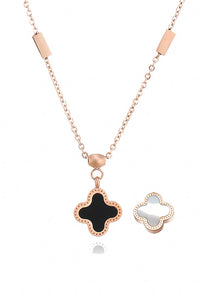 Adele Reversible Two Side Four Leaf Clover Link Chain Necklace
