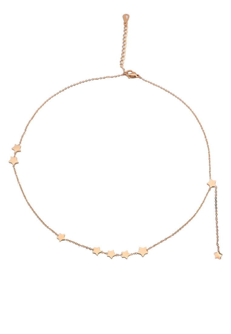 Galaxy Stars Drop Charms in Rose Gold Pendant Chain Necklace