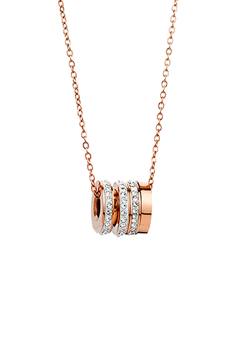 Jordana Barrel Roll Ring Pendant in Rose Gold Chain Necklace