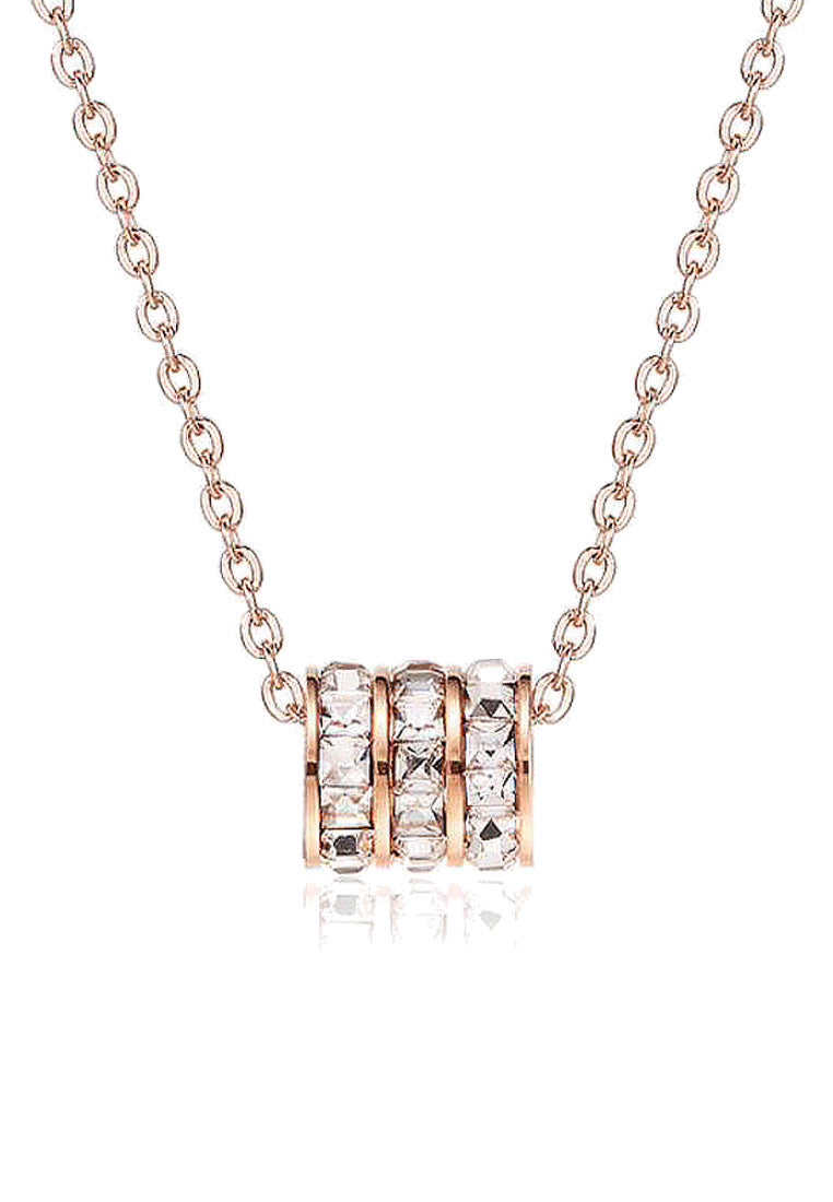 Orabelle Barrel Roll Ring  Zirconia Rose Gold Necklace