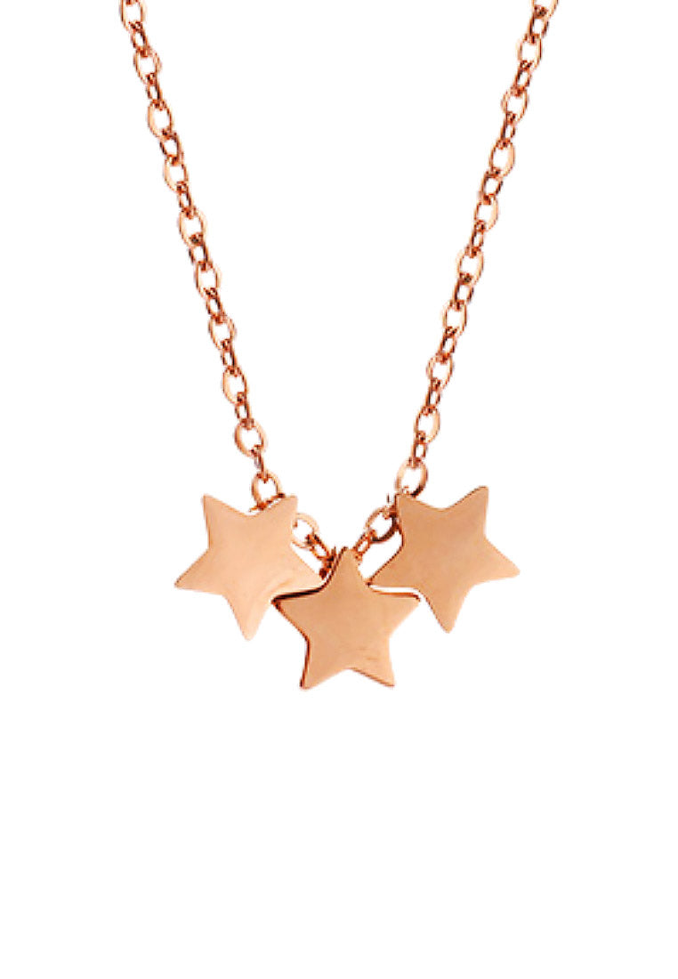 Orion Trinity Stars Pendant in Rose Gold Chain Necklace
