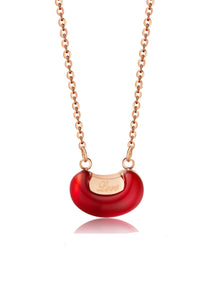 Love Pea Red Bean Pendant in Rose Gold Chain Necklace