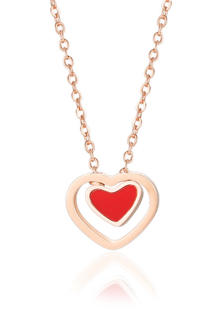 PREMIUM EDITION - Heartthrob Red Lacquer with Genuine 0.005 Ct Diamond Rose Gold Necklace