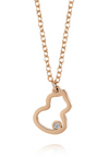 Longevity Gourd Frame with 0.005 Ct Diamond Rose Gold Necklace