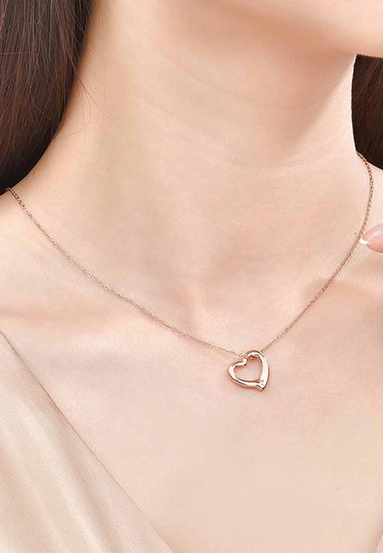 PREMIUM EDITION - Darling Heart Frame with Genuine 0.005 Ct Diamond Rose Gold Necklace