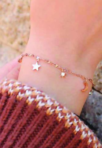 Celestial Moon and Stars with Zirconia Bracelet