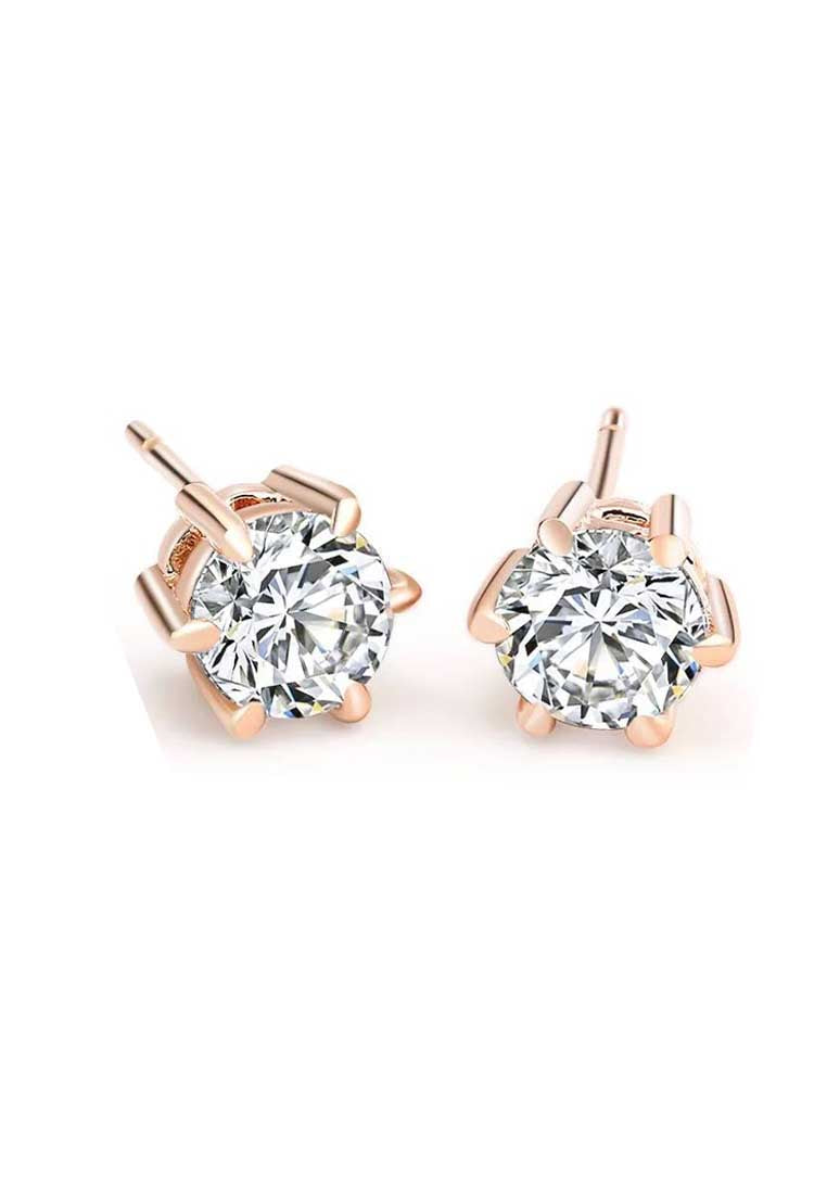Elsie White Round Zirconia Solitaire in Rose Gold Stud Earrings