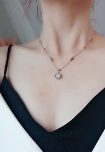 Emma Reversible Two Side Rose Gold Pendant Necklace