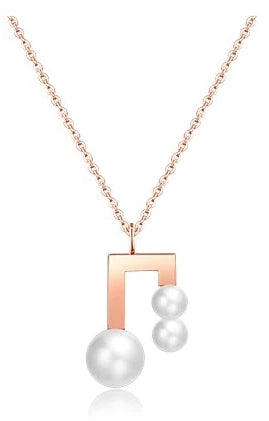 Isabelle Pearl Music Notes Pendant in Rose Gold Chain Necklace