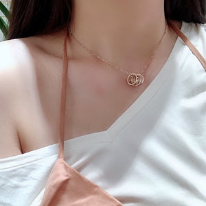 Faith Tri-Rings Roman Numeral Classic Necklace