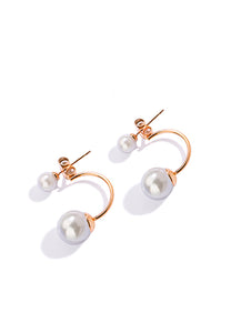 Medo Floating Double White Pearl in Half C Rose Gold Link Stud Earrings
