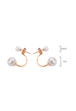 Load image into Gallery viewer, Medo Floating Double White Pearl in Half C Rose Gold Link Stud Earrings