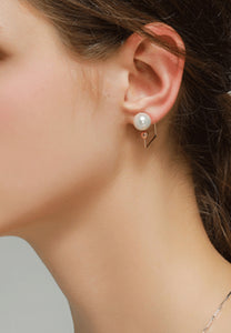Mia Floating Single White Pearl in Geometric Square Rose Gold Link Stud Earrings