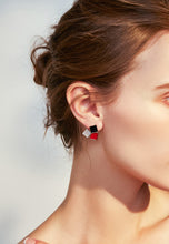 Load image into Gallery viewer, Gabrielle Trendy Tri-Color Geometric Square in Rose Gold Stud Earrings