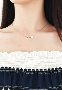 Titania Twin Stars ZIrconia Pendant in Rose Gold Chain Necklace