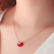 Load image into Gallery viewer, Love Pea Red Bean Pendant in Rose Gold Chain Necklace