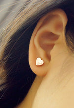Valentina Love Stud Earrings in Rose Gold