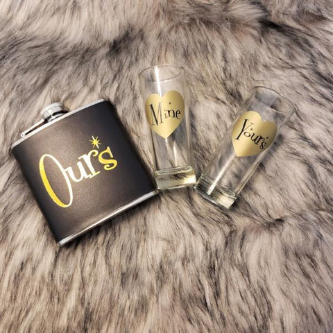 """Mine, Ours, Yours"" Flask and Shot Glasses Set"