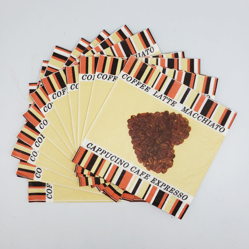 """I Heart Coffee"" Printed Disposable Table Napkin - Pack Includes 20 Sheets"