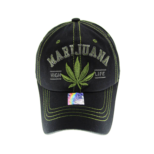 "Marijuana ""High Life"" Embroidered Baseball Cap - 4 Colours Available!"