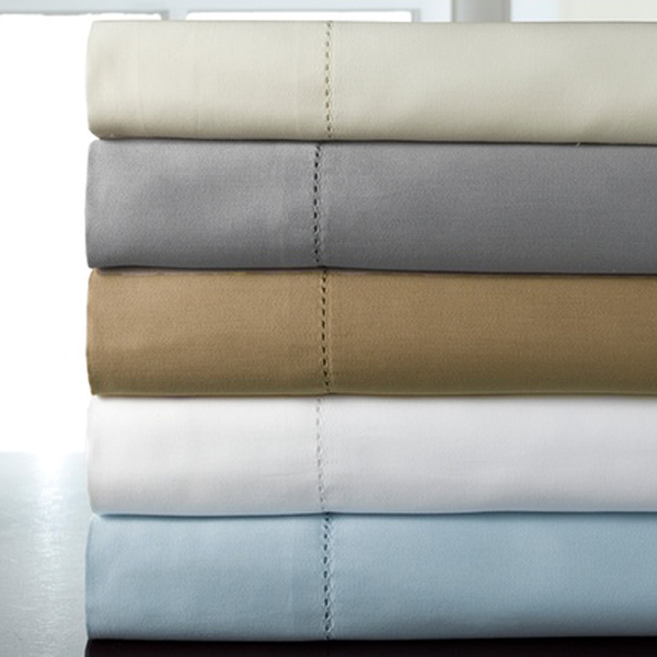 Hem Stitched Mercerized Cotton Sateen Bed Sheet Set - 4 Colors Available