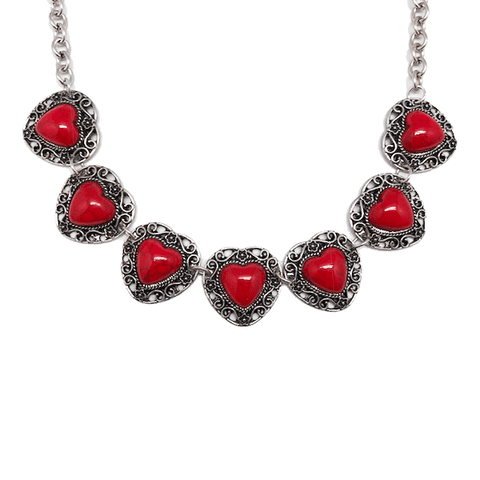 Heart 7 Stone Necklace