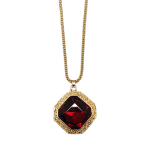Large Cushion Cut Crystal Ruby Pendant & Chain Necklace
