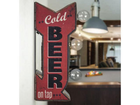 Vintage Metal Marquee LED Sign - Cold Beer on Tap