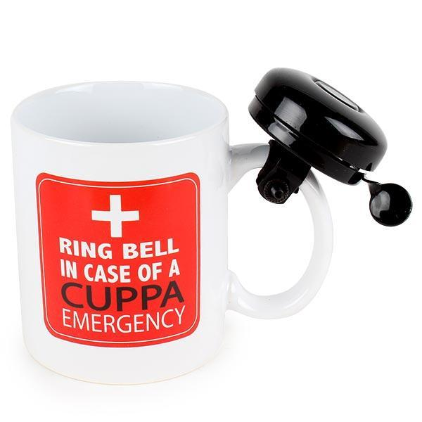 """Ring For Another Cuppa Emergency"" Ceramic Mug With Bell"