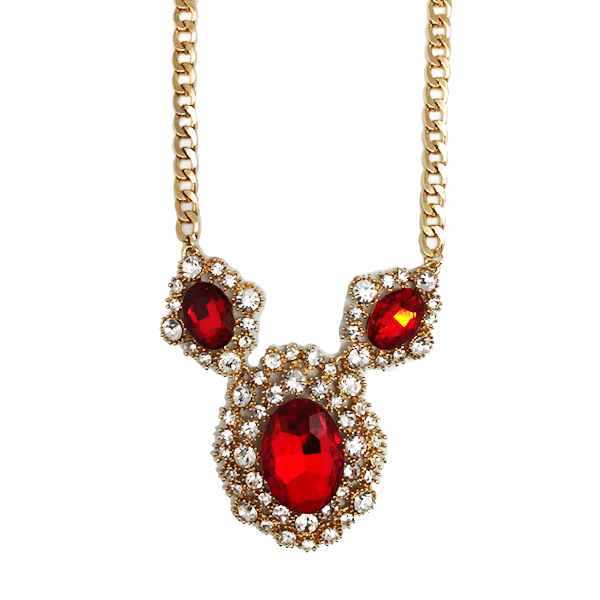 Royal Crystal & Ruby Red Statement Necklace