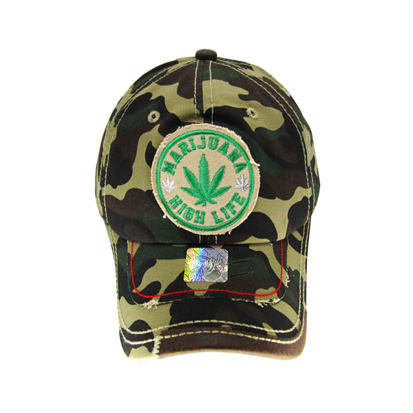 "Distressed Camo ""Marijuana High Life"" Patch Baseball Cap"