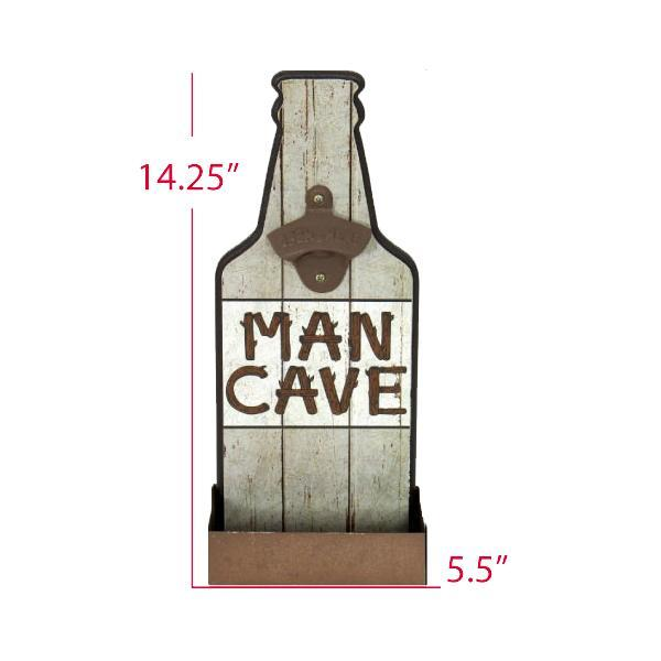 """Man Cave"" Mountable Bottle Shaped Wooden Cap Opener and Catcher"