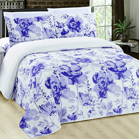 Silky Plush Bamboo Bed Sheet Set - Purple Florals