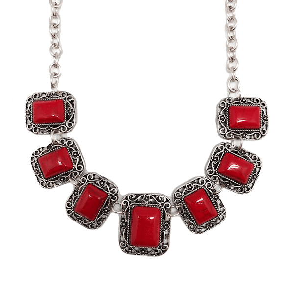 Vintage Red & Silver 7-Stone Statement Bib Necklace