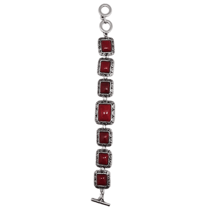 Rectangle Coral 7 Stone Bracelet