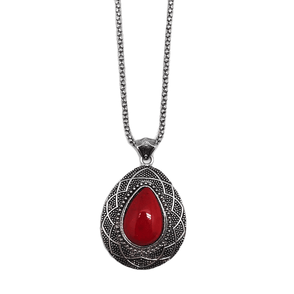 Teardrop Coral Pendant & Chain Necklace