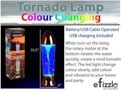 "10.5"" Tornado Lamp LED Color Changing, Battery/USB Cable Operated Table Lamp"