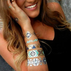 VIP Exclusive Offer- Buy 1 Get 2 Free! Hot Jewels Metallic Temporary Tattoos - Assorted Styles!