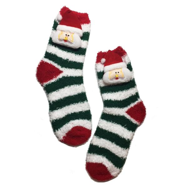 Apparel - Santa & Rudolph Candy Cane Fuzzy Slipper Socks