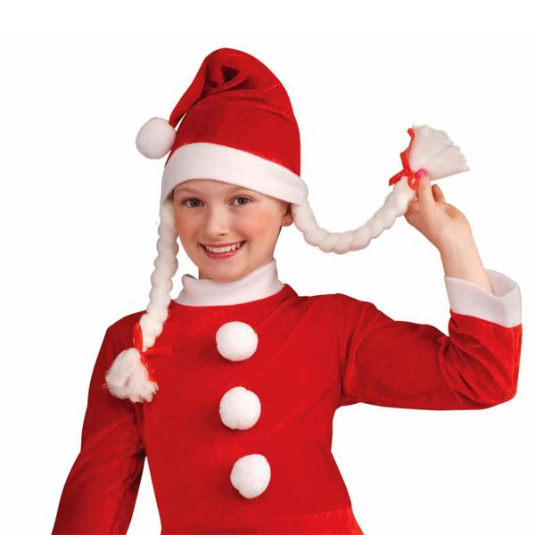 "Apparel - ""Santa's Little Helper"" Festive Holiday Hat With Braids - Multi-Packs Available!"