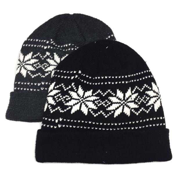 Apparel - Unisex Knit Snowflake Beanie Hat With Fleece Lining - Assorted Colors