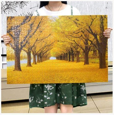 """Autumn Golden Yellow Trees"" - 1000 Pieces Jigsaw Puzzles"